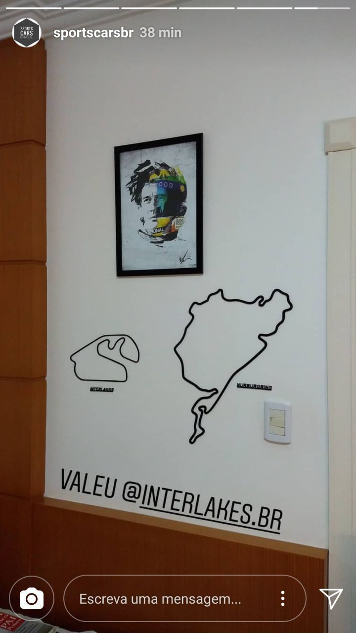 QUADRO/POSTER RETRATO AYRTON SENNA + PISTA INTERLAGOS
