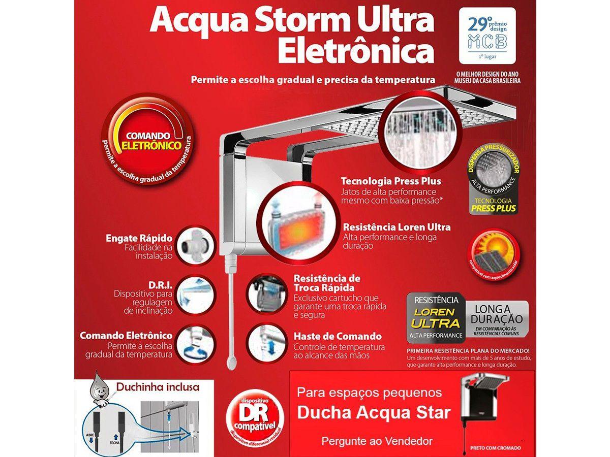Chuveiro Acqua Storm Ultra Branco C/ Cromado 220v 7800w 372121 Lorenzetti