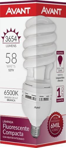 Lâmpada Fluorescente Espiral 127v 58w Branca Avant
