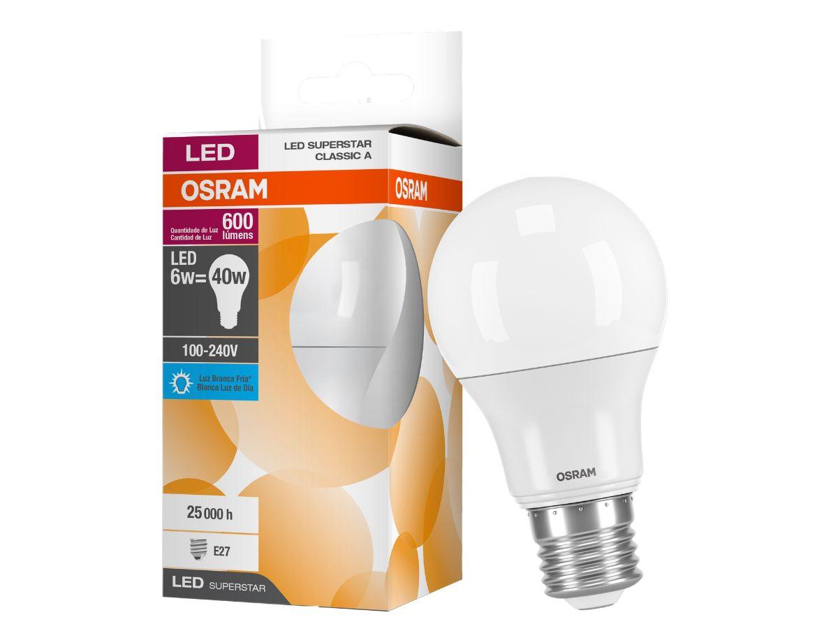 Lâmpada Led Bulbo 6W 6500K Luz Fria Bivolt Osram