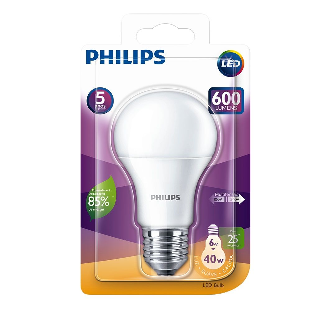 Lâmpada Led Bulbo 6w Bivolt 3000k 600lm Luz Suave Cálida ( Amarelada ) Philips