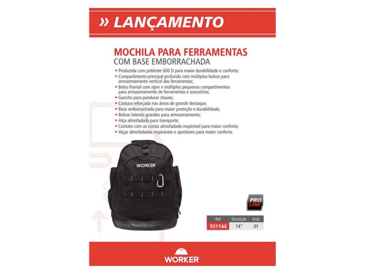 Mochila Para Ferramentas Base Emborrachada 931144 Worker