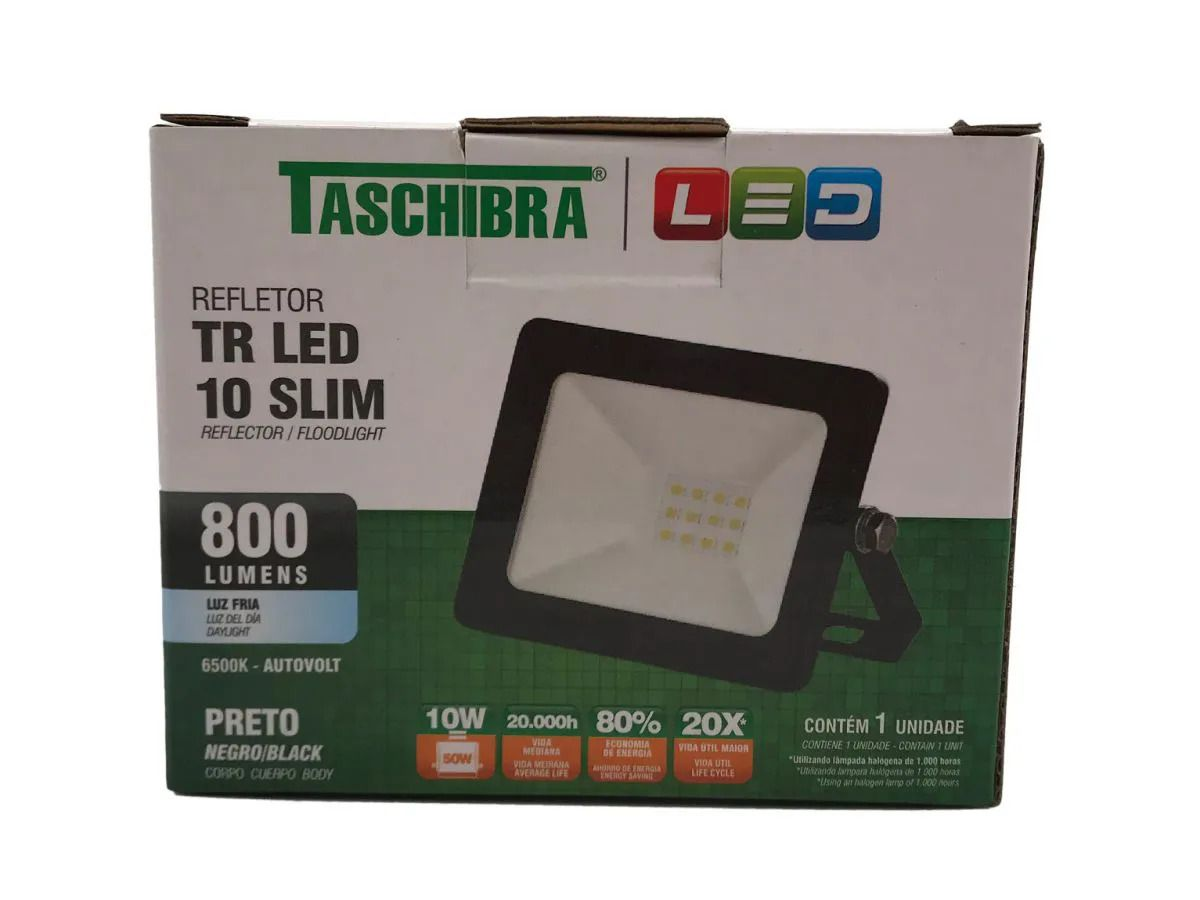 Refletor Led 10W Luz Branca Holofote Bivolt Slim Taschibra