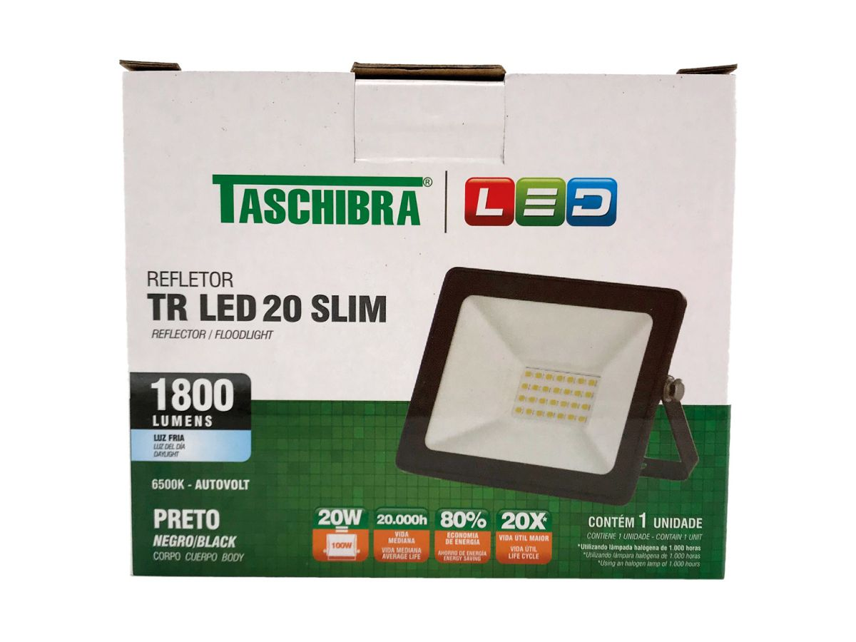 Refletor Led 20W Luz Branca Holofote Bivolt Slim Taschibra