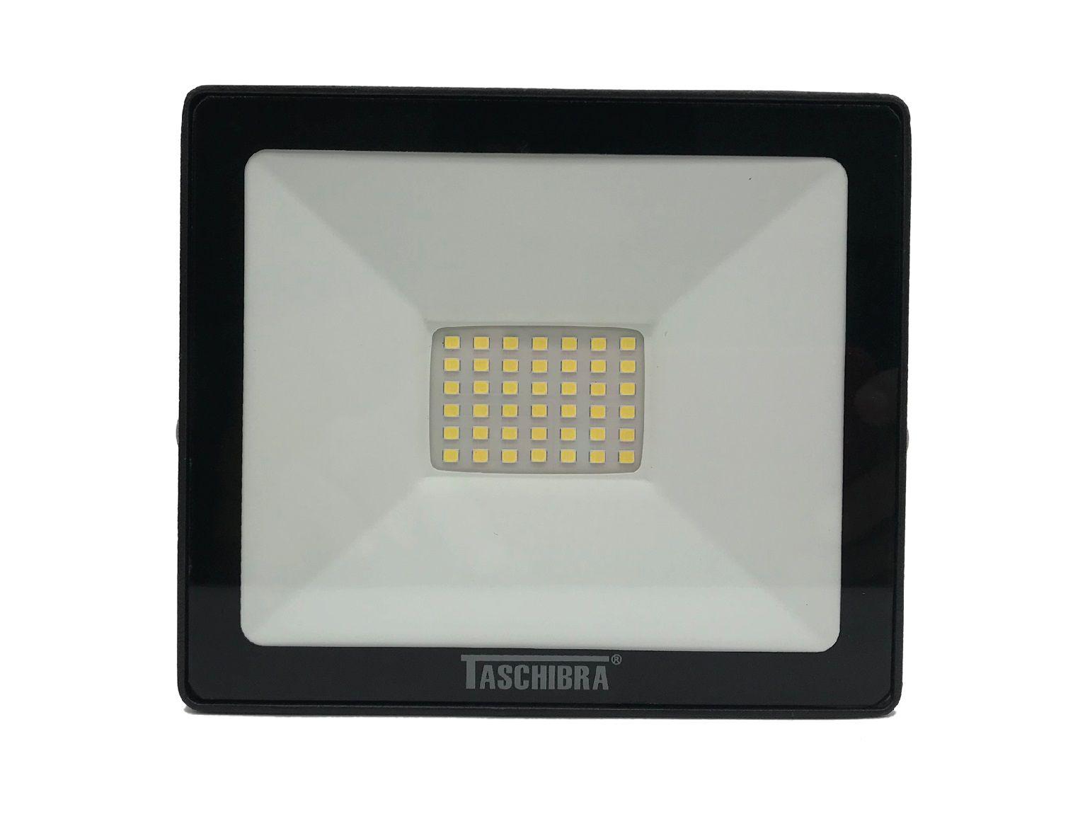 Refletor Led 30W Luz Branca Holofote Bivolt Slim Taschibra