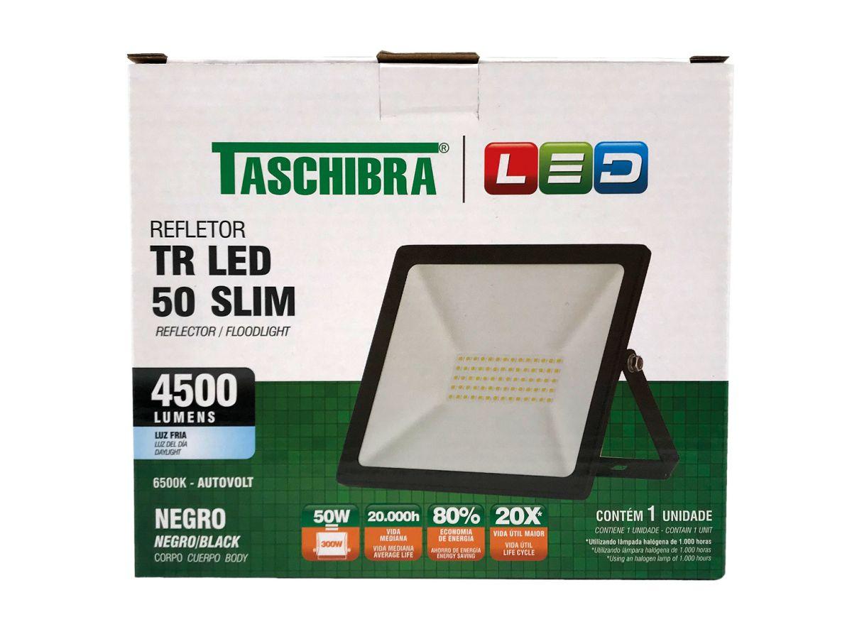 Refletor Led 50W Luz Branca Holofote Bivolt Slim Taschibra