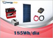 Kit Energia Solar OFF Grid até 185 Wh / Dia + Inversor 300 W 12/ 127V