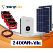 Kit Energia Solar com Inversor Híbrido Off Grid até 2400 Wh/Dia