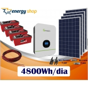 Kit Energia Solar com Inversor Híbrido Off Grid até 4800 Wh/Dia