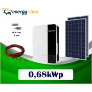 Kit Energia Solar com Inversor Híbrido Off Grid de 0,68kWp (sem baterias)