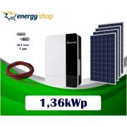 Kit Energia Solar com Inversor Híbrido Off Grid de 1,36kWp (sem baterias)
