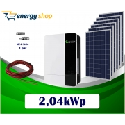 Kit Energia Solar com Inversor Híbrido Off Grid de 2,04kWp (sem baterias)