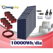 Kit Energia Solar OFF Grid até 10000 Wh / Dia