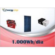 Kit Energia Solar OFF Grid até 1000 Wh / Dia