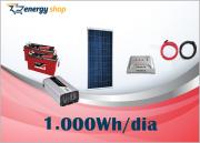 Kit Energia Solar OFF Grid até 1000 Wh / Dia + Inversor 1000W 24/220V