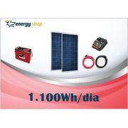Kit Energia Solar OFF Grid até 1100 Wh / Dia (12V)