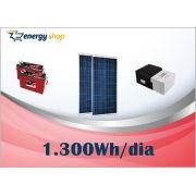 Kit Energia Solar OFF Grid até 1300 Wh / Dia