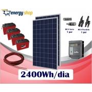 Kit Energia Solar OFF Grid até 2400 Wh/Dia