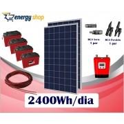Kit Energia Solar OFF Grid até 2400 Wh/Dia (e-Smart)