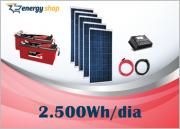 Kit Energia Solar OFF Grid até 2500 Wh / Dia