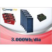 Kit Energia Solar OFF Grid até 3000 Wh / Dia