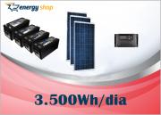 Kit Energia Solar OFF Grid até 3500 Wh / Dia