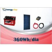 Kit Energia Solar OFF Grid até 360 Wh / Dia
