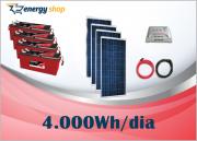 Kit Energia Solar OFF Grid até 4000 Wh / Dia