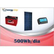 Kit Energia Solar OFF Grid até 500 Wh / Dia