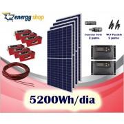 Kit Energia Solar OFF Grid até 5200 Wh / Dia