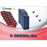 Kit Energia Solar OFF Grid até 6000Wh / Dia