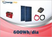 Kit Energia Solar OFF Grid até 600 Wh / Dia
