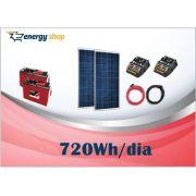 Kit Energia Solar OFF Grid até 720 Wh / Dia (12V)