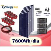 Kit Energia Solar OFF Grid até 7800Wh / Dia