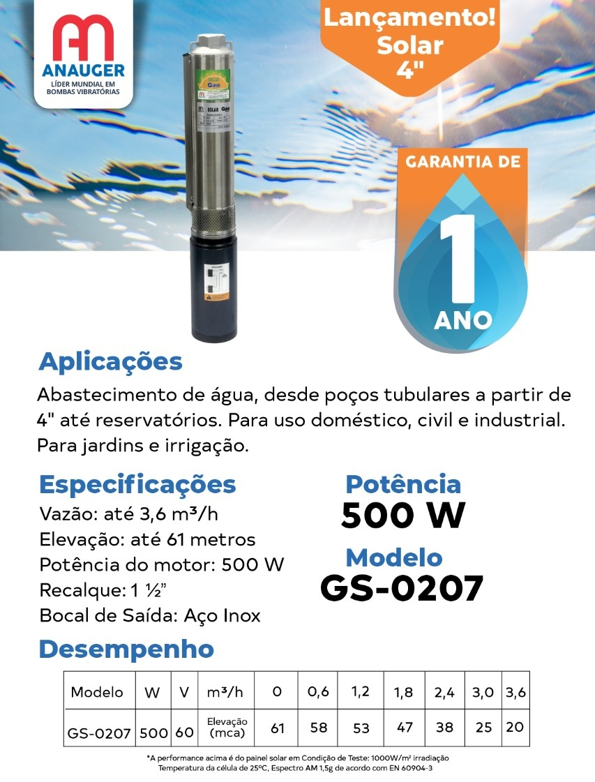 BOMBA DE ÁGUA SOLAR GIRO ANAUGER 500W