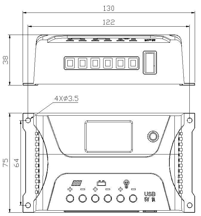 Controlador de Carga Sunenergy SR HP 20A 12/24V PWM