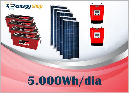 Kit Energia Solar OFF Grid até 5000 Wh / Dia - 24V com visor