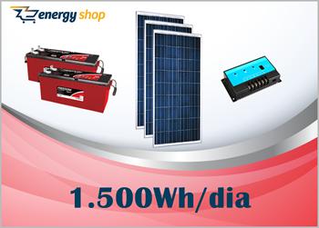 Kit Energia Solar OFF Grid até 1500 Wh / Dia