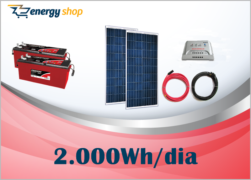 Kit Energia Solar OFF Grid até 2000 Wh / Dia