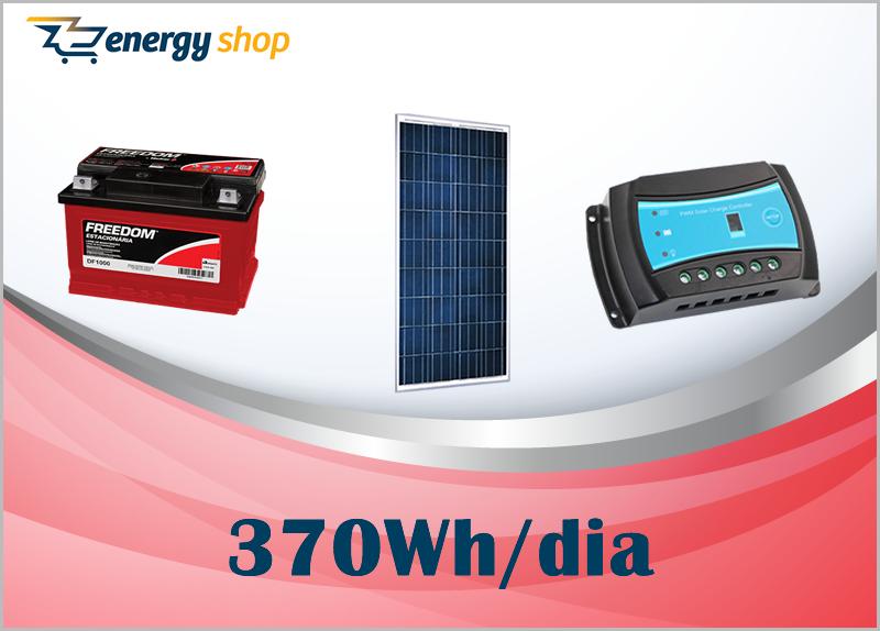 Kit Energia Solar OFF Grid até 370 Wh / Dia
