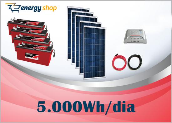 Kit Energia Solar OFF Grid até 5000 Wh / Dia