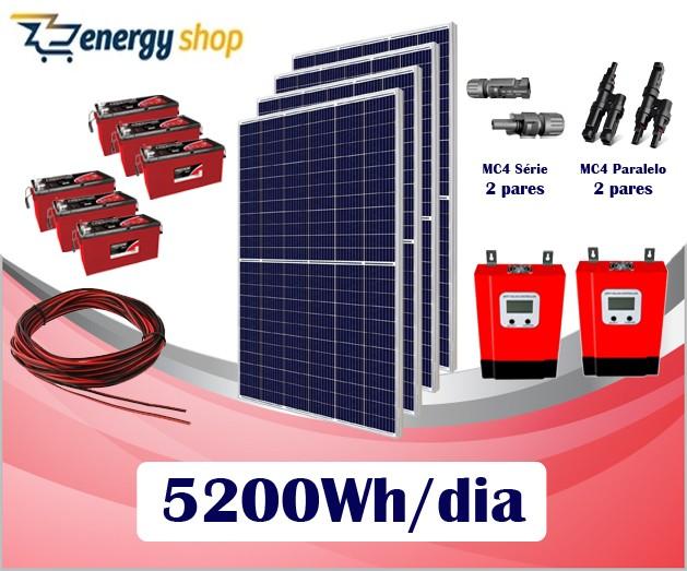 Kit Energia Solar OFF Grid até 5200 Wh/Dia (e-Smart)