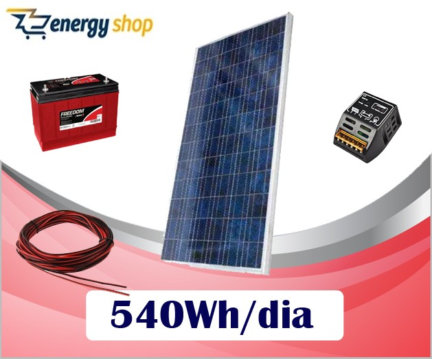 Kit Energia Solar OFF Grid até 540 Wh / Dia
