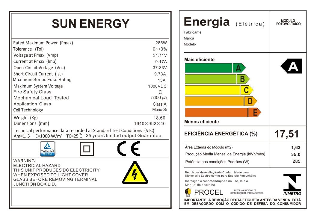 Painel Solar Fotovoltaico Sun Energy 285W Monocristalino