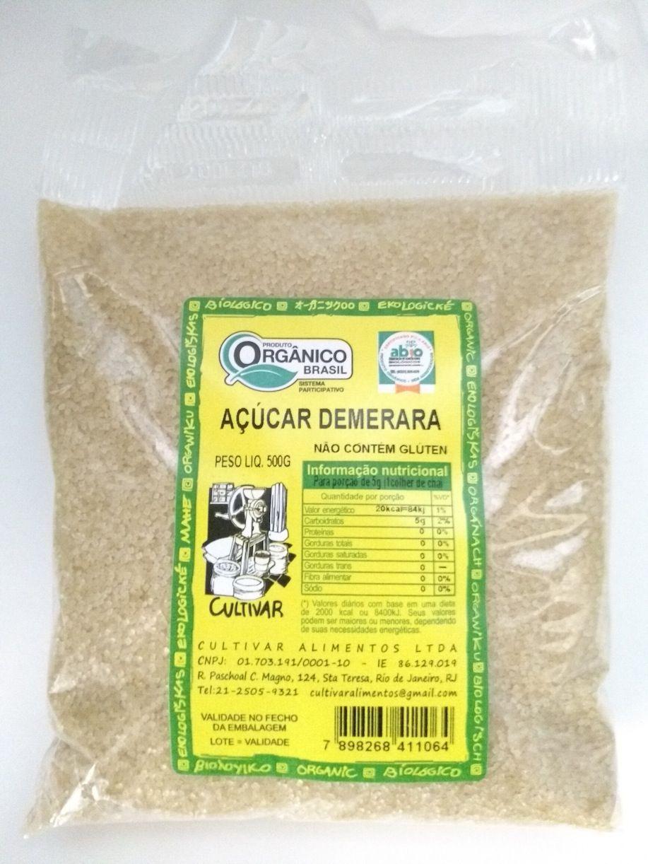 Açúcar demerara orgânico, 500g  - Cultivar