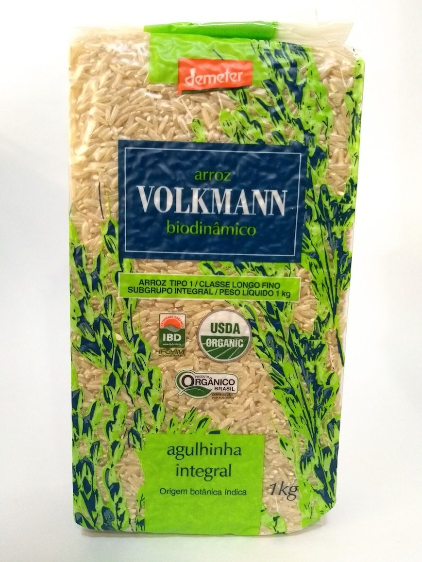Arroz agulhinha integral biodinâmico, 1kg – Volkmann