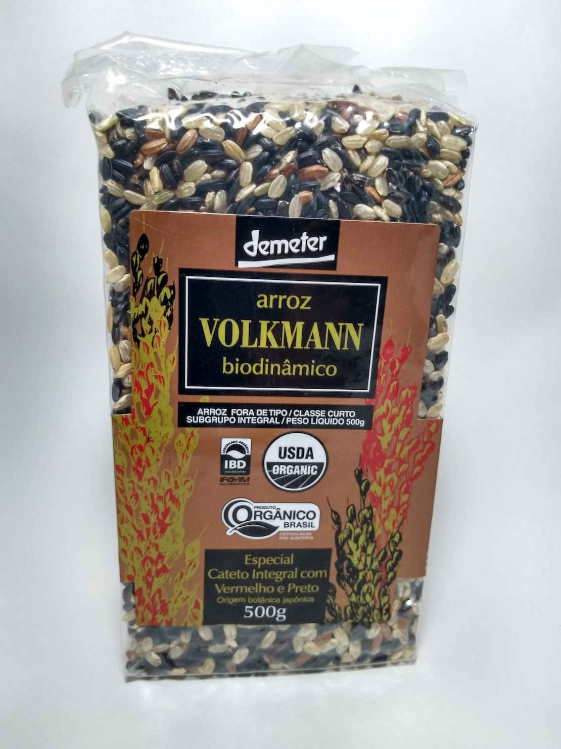 Arroz especial cateto integral com vermelho e preto biodinâmico, 500g – Volkmann
