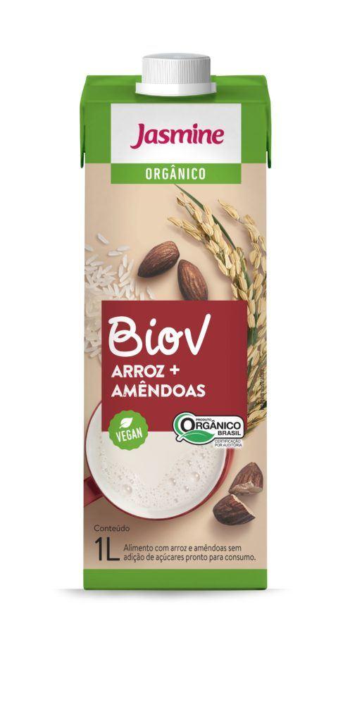 Biov bebida vegetal orgânica de arroz com amêndoas, 1L -  Jasmine