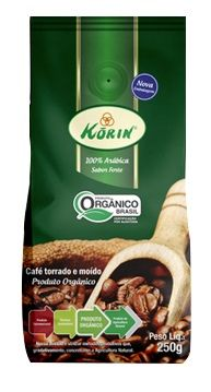 Café orgânico torrado e moído, sabor forte, 250g – Korin