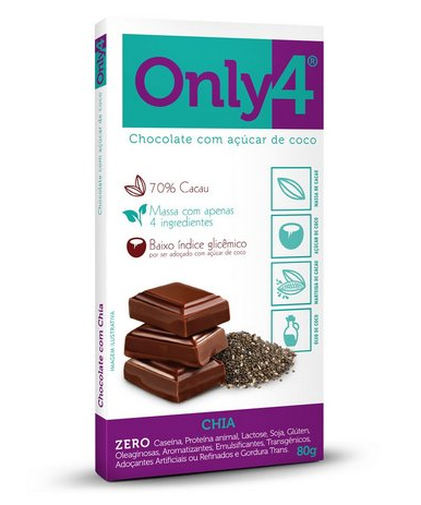 Chocolate 70% cacau, 80g - Only4